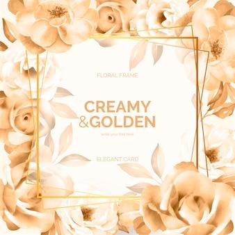 Moldura floral cremosa e dourada
