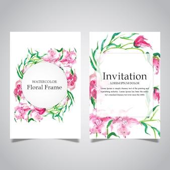 Moldura floral de aguarela e coleção de cartão de convite
