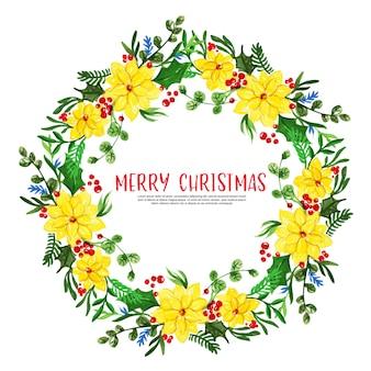 Moldura floral de natal linda aquarela