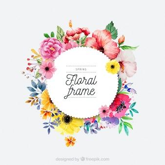 Moldura floral de primavera de aquarela