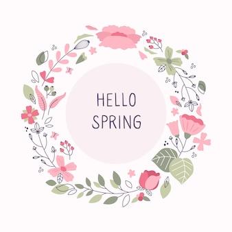 Moldura floral de primavera desenhada à mão