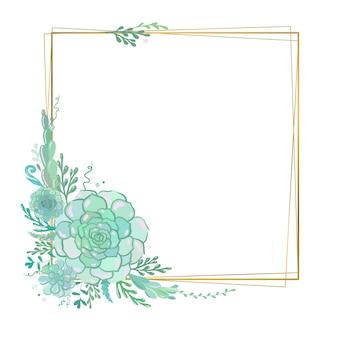 Moldura floral de vetor com suculentas moldura quadrada dourada elegante com flores suculentas