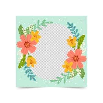 Moldura floral desenhada à mão para o facebook