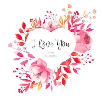 Moldura floral do coração do valentim com folhas da aguarela