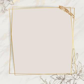 Moldura floral dourada com pincel