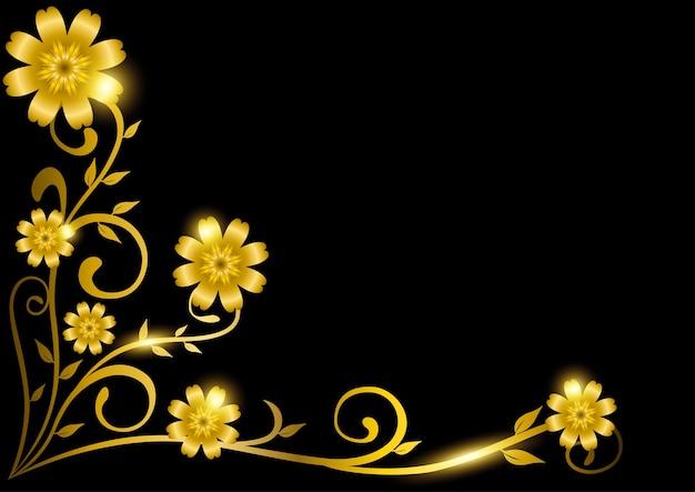 Moldura floral dourada decorativa luxuosa para borda