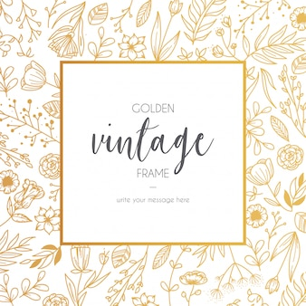 Moldura floral dourada vintage