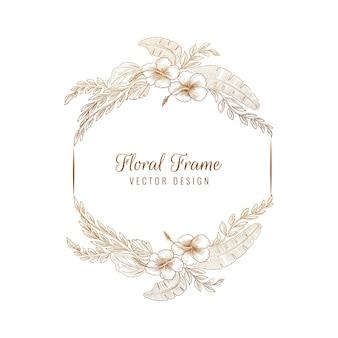 Moldura floral elegante para casamento circular