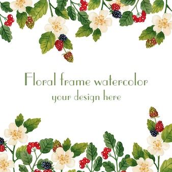 Moldura floral em aquarela de convite de primavera