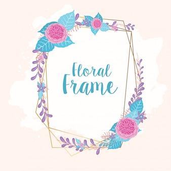 Moldura floral para cartão de casamento