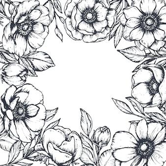 Moldura floral preto e branco com buquês de flores de anêmona desenhadas à mão,