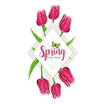 Moldura floral primavera aquarela