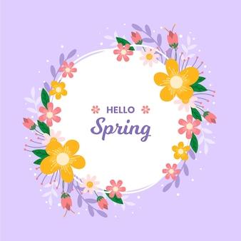 Moldura floral primavera desenhada à mão com mensagem