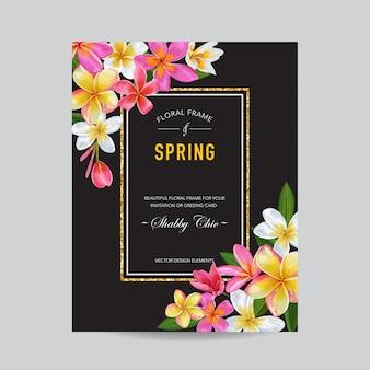 Moldura floral primavera e verão