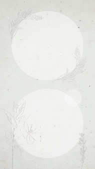 Moldura floral redonda cinza