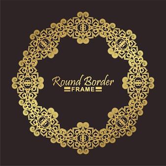 Moldura floral redonda de luxo em ouro