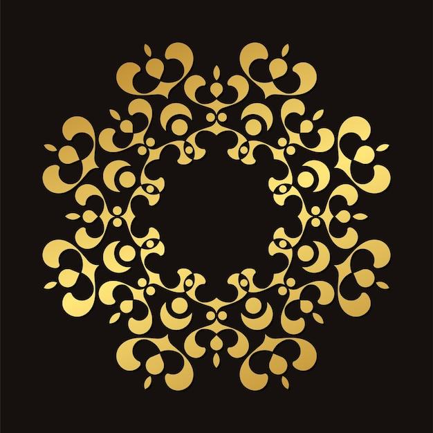 Moldura floral redonda luxuosa em ouro