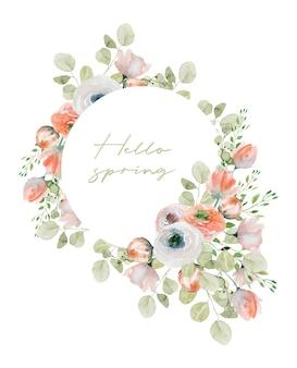Moldura floral redonda primavera aquarela com rosas brancas e rosa, eucalipto e folhagens