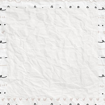 Moldura fofa em estilo doodle em papel amassado