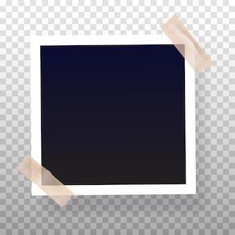 Moldura fotográfica instantânea em branco colada em fita colorida Vetor Premium