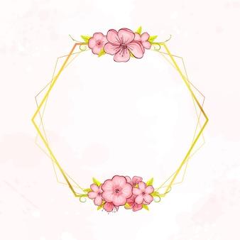 Moldura geométrica botânica dourada