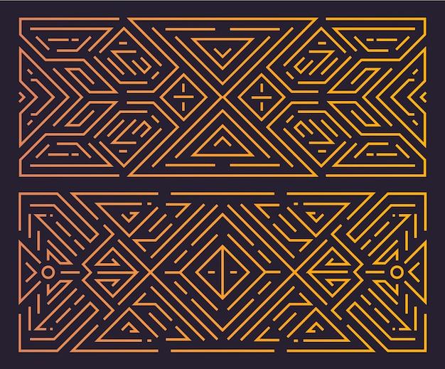 Moldura geométrica de monograma art deco, fundo linear dourado, estilo vintage.