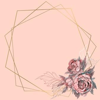 Moldura geométrica de ouro com um buquê de flores.