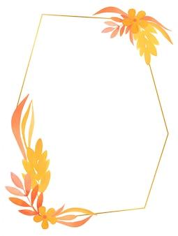Moldura geométrica dourada com elementos florais em aquarela de cores quentes com flores e ramos