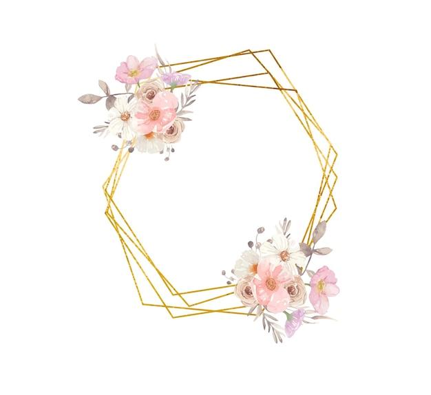 Moldura geométrica dourada com flores em aquarela de outono