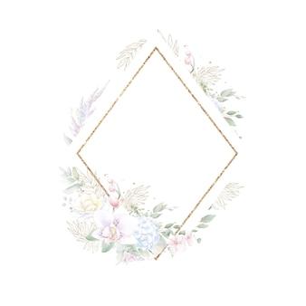 Moldura geométrica dourada com orquídeas