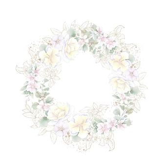 Moldura geométrica dourada com rosas isoladas em branco