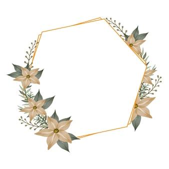 Moldura hexagonal com arranjo de flor amarela suave para convite de casamento