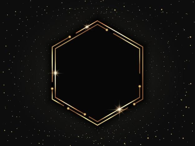 Moldura hexagonal de luxo em ouro com partículas. geométrico