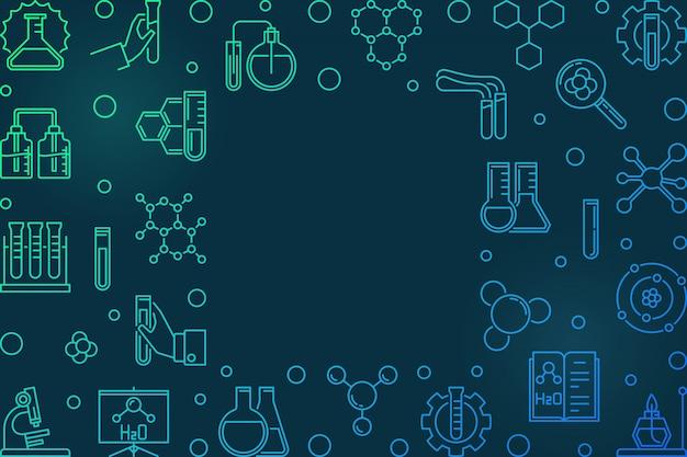 Moldura hizontal com ícones de química. ilustração linear