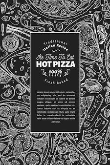 Moldura italiana de pizza e ingredientes. modelo de design de bandeira de comida italiana