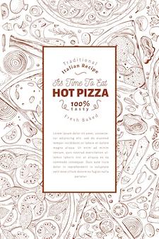 Moldura italiana de pizza e ingredientes.