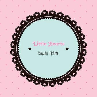 Moldura kawaii preta e rosa