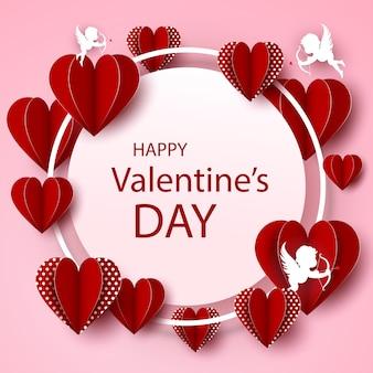 Moldura linda com corações para o dia dos namorados