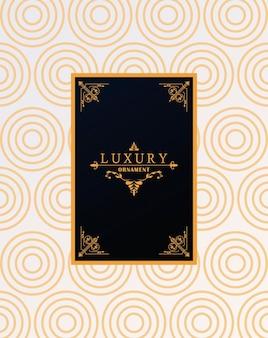 Moldura luxuosa com estilo vitoriano em fundo de figuras de ondas douradas
