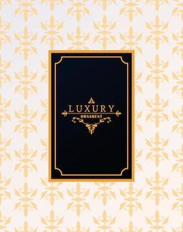 Moldura luxuosa com estilo vitoriano em fundo de figuras douradas