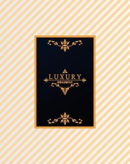 Moldura luxuosa com estilo vitoriano em fundo de listras douradas