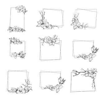 Moldura moderna de primavera com flores de magnólia, folhas e galhos em estilo de gravura