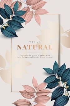 Moldura natural premium decorada com folhas rosa