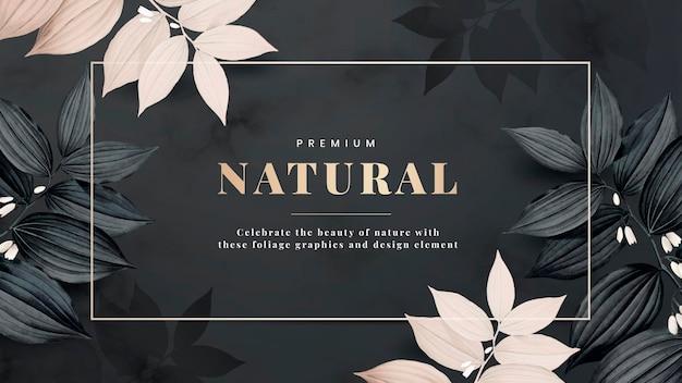 Moldura natural premium decorada com vetor de folhas rosa