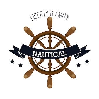 Moldura náutica com navio timon