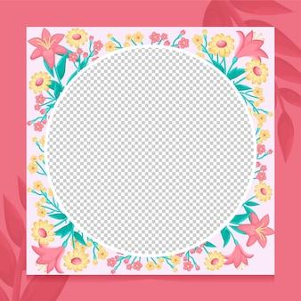 Moldura orgânica plana floral para facebook