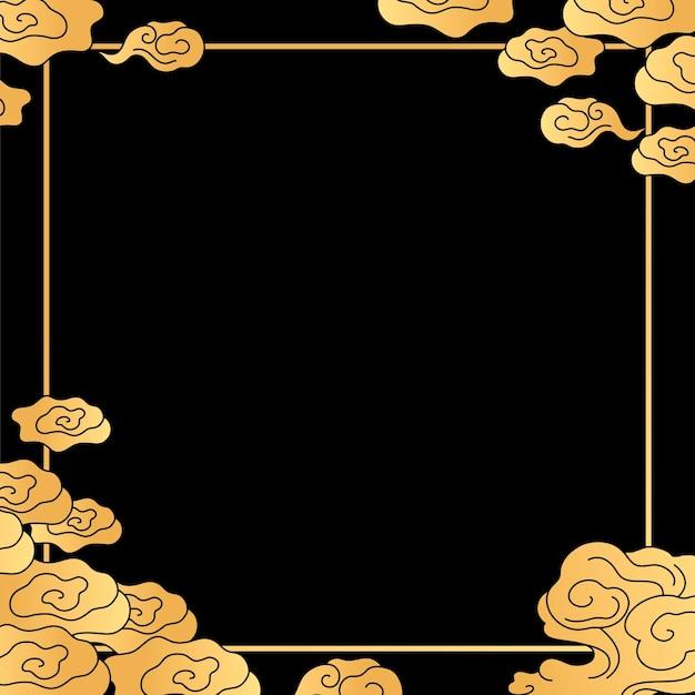 Moldura oriental dourada, vetor de ilustração chinesa em nuvem