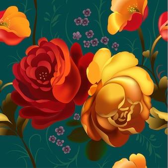 Moldura ornamental floral em estilo russo zhostovo.