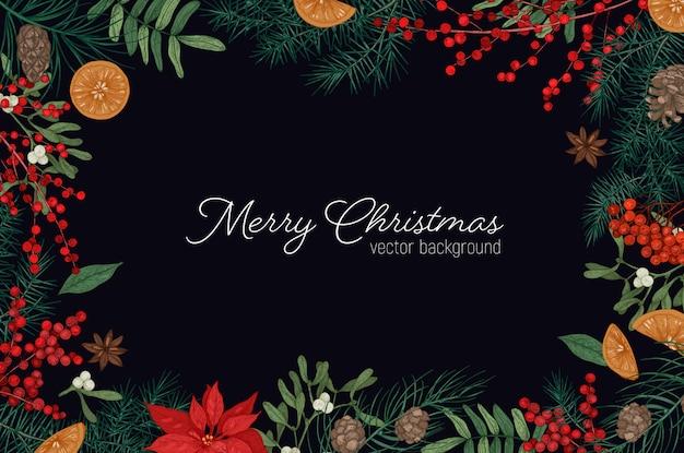 Moldura ou borda elegante feita de galhos e cones de abetos e abetos, bagas de visco e folhas desenhadas à mão no espaço negro e desejo de feliz natal