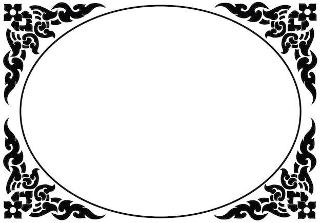 Moldura oval artística do vetor padrão tailandês